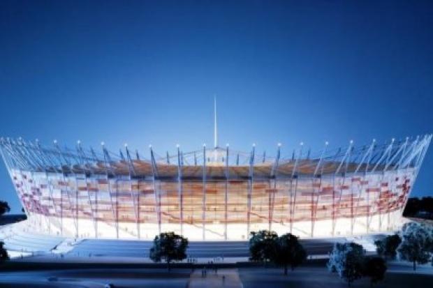Budowa stadionu narodowego - dźwigi, rowery i bąbelki