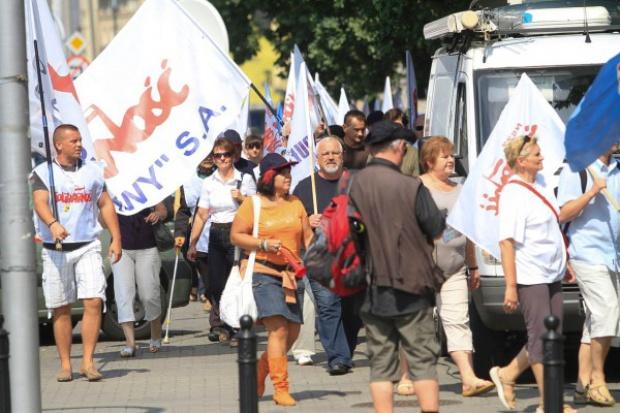 Związkowcy z Puław protestowali w Warszawie