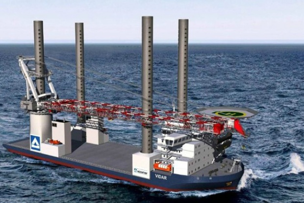 Bandera na statku do budowy i obsługi morskich farm wiatrowych