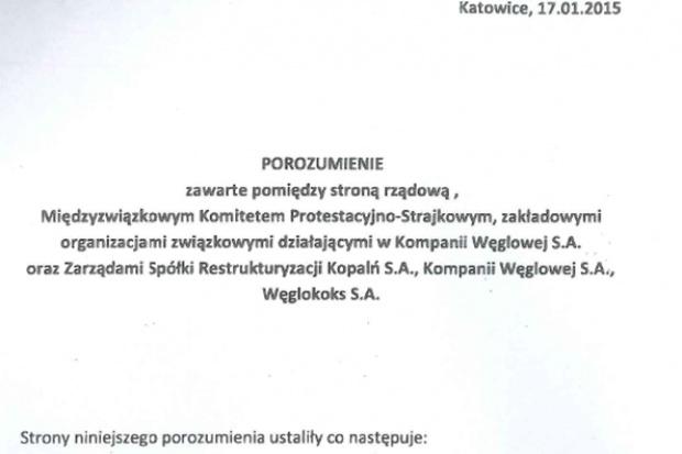 Porozumienie ws. naprawy Kompanii Węglowej - PDF