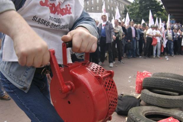 Demonstracja górników w Warszawie przeciwko rządowi