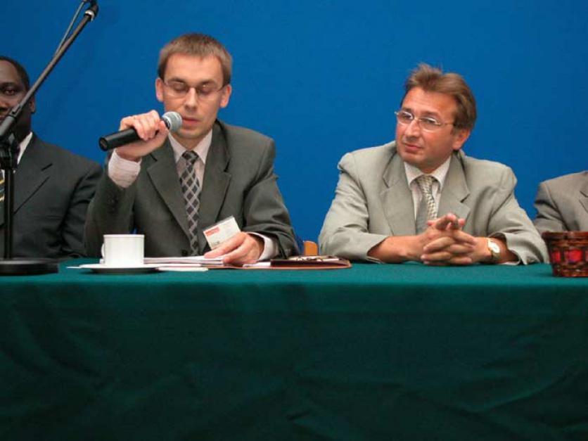 Od lewej: Wojciech Kuśpik - Prezes Zarządu Polskiego Towarzystwa Wspierania Przedsiębiorczości; Wiesław Wiśniewski - Prezesz Zarządu Liberty Poland