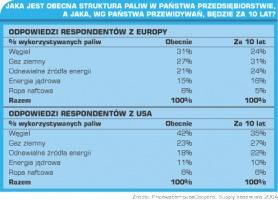 Tabela 3. Jaka jest obecna struktura paliw w Państwa przedsiębiorstwiem a jaka, wg Państwa przewidywań, będzie za 10 lat?