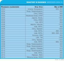 Tabela 1. Reaktory w budowie.