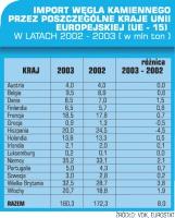 Import węgla kamiennego przez poszczególne kraje UE w latach 2002-2003 w mln ton.