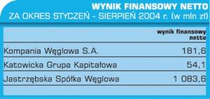 Tabela 2. Wynik finansowy netto za okres styczeń - sierpień 2004 r. (w mln zł).