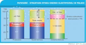 Wykres 1. Płynność - struktura rynku energii w Polsce