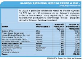 Najwięksi producenci miedzi na świecie w 2003 r.(produkcja górnicza)