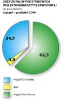 Wykres 2. Zużycie paliw podstawowych w elektroenergetyce zawaodowej (w procentach), styczeń - grudzień 2004