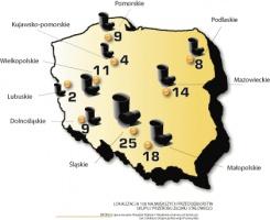 Lokalizacja 100 największych przedsiębiorstw skupu i przerobu złomu stalowego