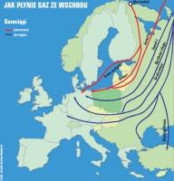 Rysunek 1. Jak płynie gaz ze wschodu