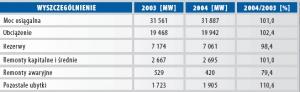 Wybrane wielkości dotyczące pracy elektrowni zawodowych w latach 2003 i 2004.
