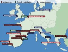 Europejski import LNG. Zdolności przerobowe terminali w mld m sześciennych.
