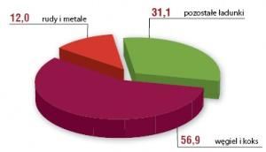 Struktura przewozów ładunków kolejowych w Polsce w 2004 r. (w proc.). Źródło: CTL Logistics.