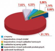 Struktura przychodów złomu z zewnątrz w 2004 r. Źródło: CIBEH