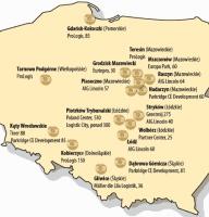 Wybrane lokalizacje centrów logistycznych w Polsce (powierzchne docelowe w tys.mkw.)