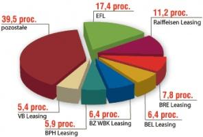 Udział w rynku najważniejszych firm działających w segmencie leasingu pojazdów samochodowych w 2005r.