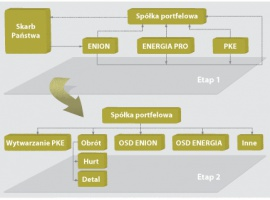 Wydzielenie OSD  połączone z konsolidacją w grupie BOT i PSE Konsolidację i wydzielenie OSD w grupie BOT, PSE SA (część po wydzieleniu operatora systemu przesyłowego), ZE Łódź-Miasto, ZE Łódź-Teren, spółek z grupy L5 oraz ZE Rzeszów – można wykonać na dwa sposoby:  • Wniesienie aportem akcji BOT oraz spółek dystrybucyjnych do PSE SA i następnie dokonanie wydzielenia Operatora Systemu Przesyłowego z siecią oraz spółki obrotu z przedsiębiorstw dystrybucyjnych; zmiana nazwy na Polską Grupę Energetyczną.  • Utworzenie spółki portfelowej pod nazwą Polska Grupa Energetyczna przez BOT, PSE SA oraz spółki dystrybucyjne konsolidowane w tej grupie i następnie dokonanie wydzielenia Operatora Systemu Przesyłowego z siecią oraz spółki obrotu z przedsiębiorstw dystrybucyjnych; konsolidacja operatorów systemów dystrybucyjnych, np. w dwie grupy: Łódź i Wschód; wydzielenie ze struktury BOT kopalni węgla brunatnego oraz utworzenie koncernu BOT z trzema elektrowniami oraz koncernu Kopalnie z dwiema kopalniami.