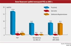 Dane finansowe spółek tworzących PGE za 2005 r.