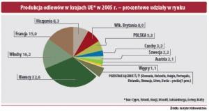 Produkcja odlewów w krajach UE w 2005 r. - procentowe udziały w rynku