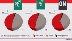 Struktura cen wybranych paliw w V 2007 r. (w proc.)