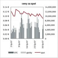 Ceny za spot, Źródło: EEX, Point Carbon data: 01.08.2007