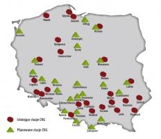 Istniejące i planowane stacje CNG w Polsce (stan na koniec lipca 2007 r.)