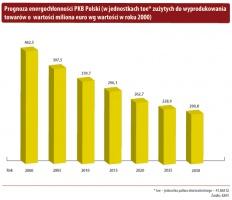 Prognoza energochłonności PKB Polski (w jednostkach toe* zużytych do wyprodukowania towarów o wartości miliona euro wg wartości w roku 2000)