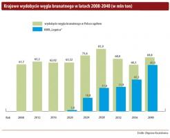 Krajowe wydobycie węgla brunatnego w latach 2008-2040 (w mln ton)