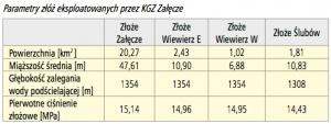 Parametry złóż eksploatowanych przez KGZ Załęcze
