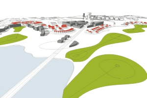 Wizualizacja terenów po kopalniach Szombierki i Rozbark według prekoncepcji urbanistycznej opracowanej przez pracownię Jagiełło Krysiak Architects z Katowic.