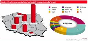 Zasoby powierzchni magazynowej w Polsce (w m<sup>2</sup>), udziały deweloperów w rynku* (w proc.)
