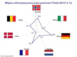Miejsca oferowanej pracy poza granicami Polski (N=31 w %)