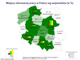 Miejsca oferowanej pracy w Polsce wg województw (w %)