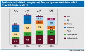 Zysk brutto na działalności energetycznej. Dane skorygowane wskaźnikiem indlacji (ceny stałe 2008r., w mld zł)