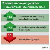 Wskaźniki rentowności górnictwa - I kw. 2009r. do I kw. 2008r. (w proc.)