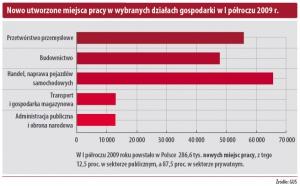 Nowo utworzone miejsca pracy w wybranych działach gospodarki w I półroczu 2009r.