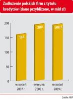 Zadłużenie polskich firm z tytułu kredytów (dane przybliżone, w mld zł)