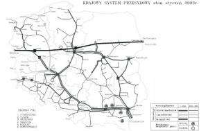 Rys. 2. Krajowy system przesyłowy, stan ze stycznia 2003