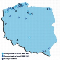Rysunek 1. Farmy wiatrowe o mocy powyżej 5 MW w Polsce (zestawienie nie uwzględnia projektów w fazie deweloperskiej lub w których nie rozpoczęły się jeszcze prace budowlane)