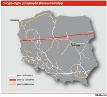 Sieć gazociągów przesyłowych i planowane inwestycje