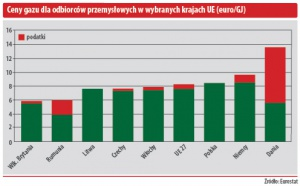 Ceny gazu dla odbiorców przemysłowych w wybranych krajach UE (euro/GJ)