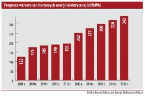 Prognoza wzrostu cen hurtowych energii elektrycznej (zł/MWh)