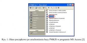 Rys. 1. Okno początkowe po uruchomieniu bazy PMKIS w programie MS Access [2]