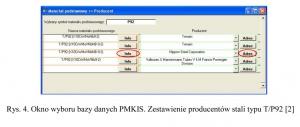 Rys. 4. Okno wyboru bazy danych PMKIS. Zestawienie producentów stali typu T/P92 [2]