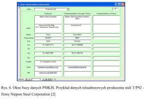 Rys. 6. Okno bazy danych PMKIS. Przykład danych teleadresowych producenta stali T/P92 - firmy Nippon Steel Corporation [2]