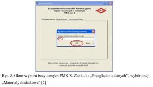 """Rys. 8. Okno wyboru bazy danych PMKIS. Zakładka """"Przeglądanie danych"""", wybór opcji """"Materiały dodatkowe"""" [2]"""