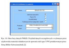 Rys. 10. Okno bazy danych PMKIS. Przykład danych szczegółowych o wybranym przez użytkownika materiale dodatkowym do spawania stali typu T/P92 produkowanym przez firmę Böhler Schweisstechnik [2]