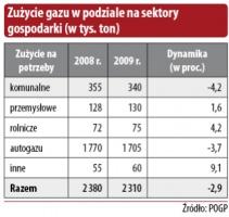 Zużycie gazu w podziale na sektory gospodarki (w tys. ton)