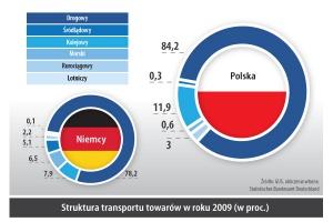 Struktura transportu towarów w roku 2009 (w proc.)